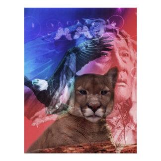 Jefe indio del nativo americano plantillas de membrete