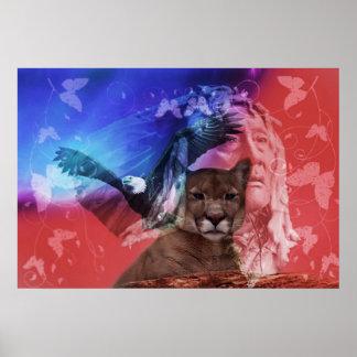 Jefe indio del nativo americano poster