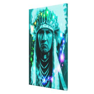 Jefe indio mágico lona envuelta para galerías