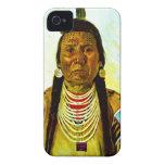 Jefe indio nativo gruñón iPhone 4 Case-Mate cárcasas