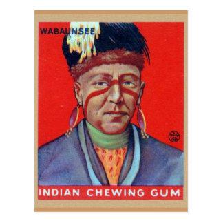 Jefe indio Wabaunsee del chicle del vintage Postal