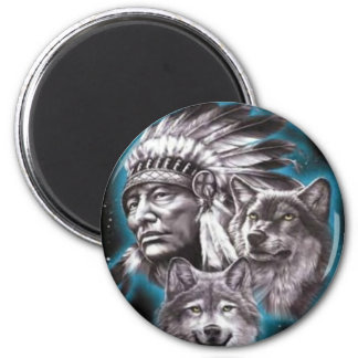 Jefe indio y lobos imán redondo 5 cm