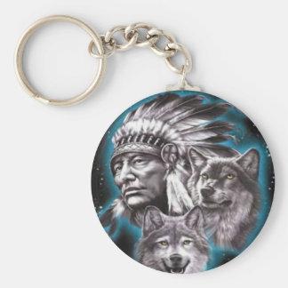 Jefe indio y lobos llavero redondo tipo pin