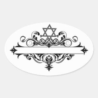 Jefe judío del vintage pegatina ovalada