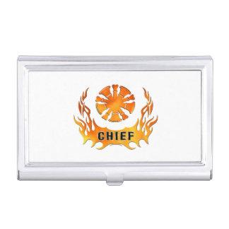 Jefes de bomberos de las llamas cajas de tarjetas de visita