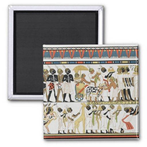 Jefes de Nubian que traen presentes Imán