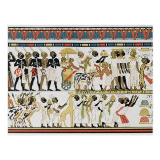 Jefes de Nubian que traen presentes Postal