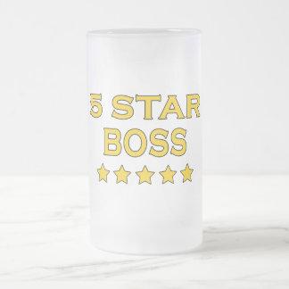 Jefes frescos divertidos: Cinco estrella Boss Taza Cristal Mate
