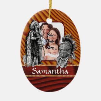 Jefes indios americanos adorno navideño ovalado de cerámica