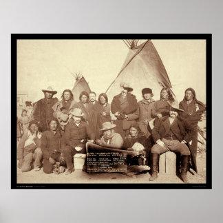 Jefes indios con el banderín SD 1891 del mundo de  Póster