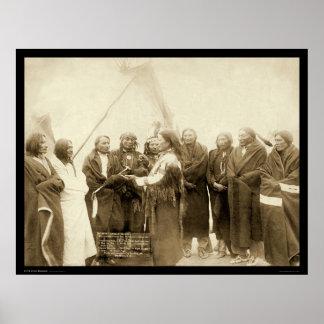 Jefes indios con las millas generales SD 1891 Póster