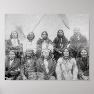 Jefes indios de Lakota que resolvieron millas gene Póster