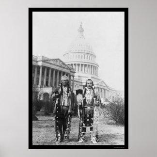 Jefes indios de Yakama delante del capitolio 1927 Impresiones