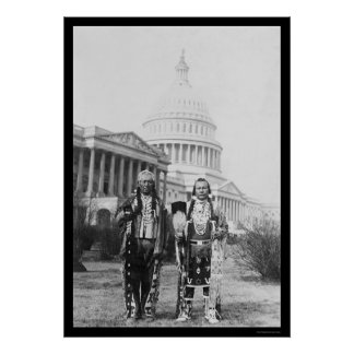 Jefes indios de Yakama delante del capitolio 1927 Póster