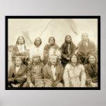 Jefes indios SD 1891 de la agencia de Ridge del pi Poster