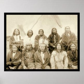 Jefes indios SD 1891 de la agencia de Ridge del pi Póster
