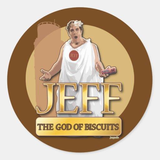 Jeff - dios de galletas pegatinas redondas