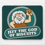 Jeff dios de las galletas Mousepad Alfombrillas De Ratón