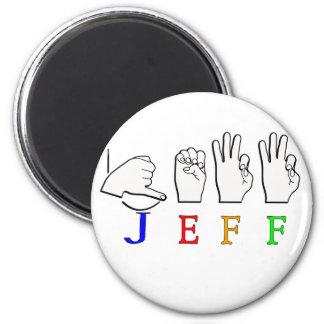 JEFF FINGERSPELLED ASL NAME SIGN REFRIGERATOR MAGNETS