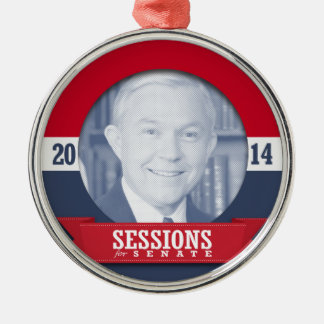 JEFF SESSIONS CAMPAIGN ROUND METAL CHRISTMAS ORNAMENT