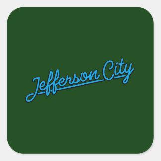 Jefferson City in cyan Square Sticker