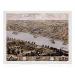 Jefferson city, mapa panorámico del MES - 1869 Impresiones