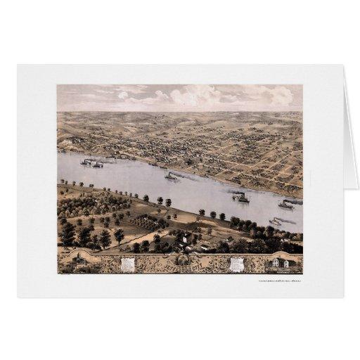 Jefferson city, mapa panorámico del MES - 1869 Felicitación
