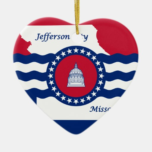 Jefferson City, Missouri, United States Double-Sided Heart Ceramic Christmas Ornament