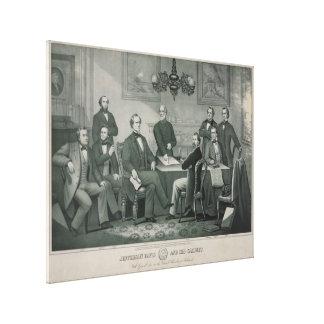 Jefferson Davis and cabinet in Richmond Capitol Canvas Print