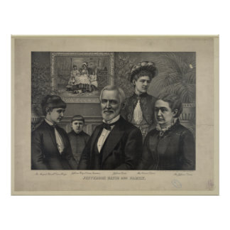 Jefferson Davis and Family Lithograph Print
