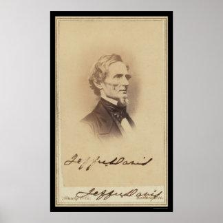 Jefferson Davis firmó la tarjeta 1860 Póster