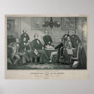 Jefferson Davis y gabinete en el capitolio de Póster