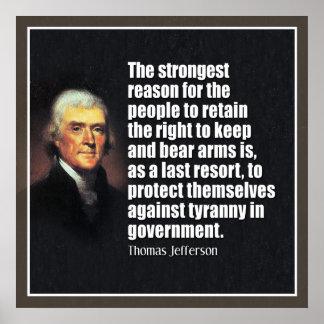 Jefferson: Derecho llevar los brazos Póster