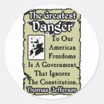 Jefferson: ¡El peligro más grande! Pegatina Redonda