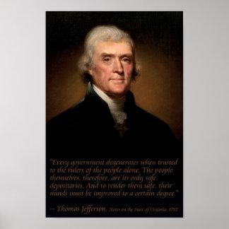 Jefferson en el poster del gobierno y de la educac póster