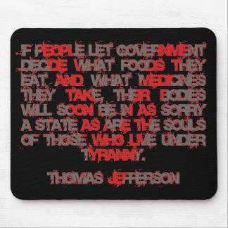 Jefferson en la comida y la medicina alfombrilla de raton