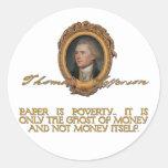 Jefferson en los billetes pegatina redonda