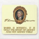 Jefferson en los billetes tapete de ratón