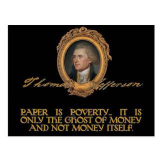 Jefferson en los billetes tarjeta postal