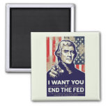 Jefferson End The Fed 2 Inch Square Magnet