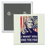 Jefferson End The Fed Pinback Buttons