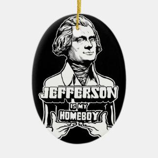 Jefferson es mi ornamento del Homeboy Adorno Ovalado De Cerámica