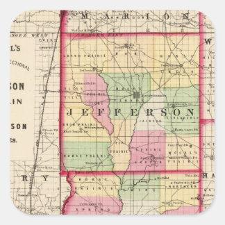 Jefferson, Franklin, condados de Williamson Calcomanía Cuadradas