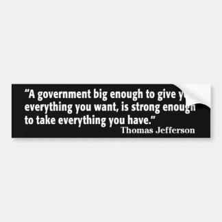 Jefferson: Guárdese del gobierno grande Etiqueta De Parachoque
