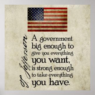 Jefferson: Guárdese del gobierno grande Póster
