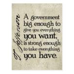 Jefferson: Guárdese del gobierno grande Tarjeta Postal