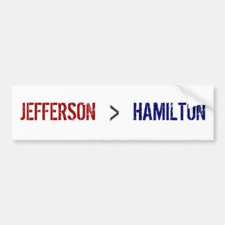 JEFFERSON, >, HAMILTON CAR BUMPER STICKER