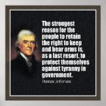 Jefferson: La derecha de llevar los brazos Póster