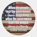 Jefferson: Libertad contra tiranía Pegatinas Redondas