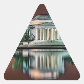 Jefferson Memorial at Night Triangle Sticker
